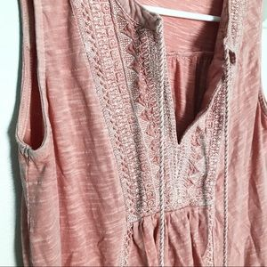 Lucky Brand Muted Coral Pink Tasseled Tank Top